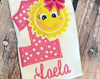 Sunshine Birthday Summer Little Girl Birthday Shirt