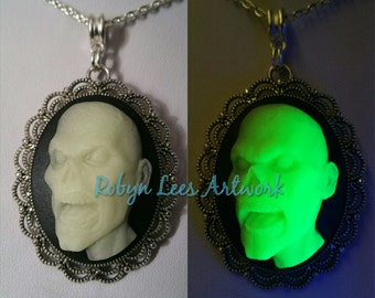 Glow in the Dark Large Green Zombie Face Cabochon Cameo Necklace on Silver Crossed Chain. Undead, Horror, Halloween, UV, Costume