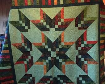 Batik Binding Tool Star Quilt 87x87 inches