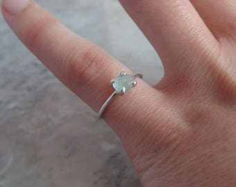 Size 4.5 RAW MONTANA SAPPHIRE ring. Genuine rough sapphire crystal in solid sterling 92.5 silver, Ethical gemstone, recycled eco friendly