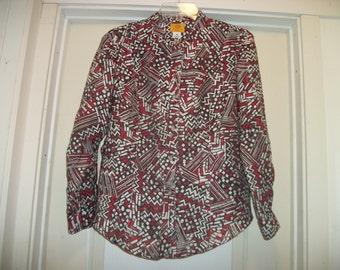 Retro 90s MODERN ART Designs TEXTURED Shirt Blouse w sm Peek a Boo Cutout, Red White Black, a Long Fanned Back, 14 P