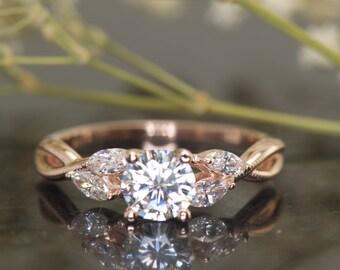 Moissanite and Marquise Cut Diamond Engagement Ring in Rose Gold, 6mm/0.75ct Forever Brilliant Moissanite, Beaded Milgrain, Brenna