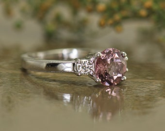 3-Stone Pink Tourmaline and Diamond Engagement Ring in 14k White Gold, Beaded Milgrain on Shank, Classic Design, Amelia PU
