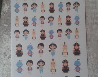 Arabian princess planner stickers, princess planner stickers, Aladdin planner stickers, kawaii planner stickers, uk seller, matildas crafts