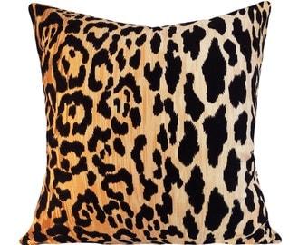 Leopard Cotton Velvet Jamil Pillow Cover - Throw Pillow - Both Sides - 12x16, 12x20, 14x18, 14x24, 16x16, 18x18, 20x20, 22x22, 24x24, 26x26