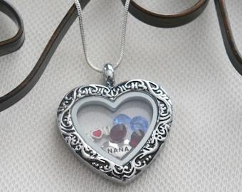 Nana Gifts, Nana Necklace, Love Gifts, Grandma Gift, Mom Gifts, Family Tree Necklace, Birthstone Locket, Heart Locket, Memory Locket, Custom