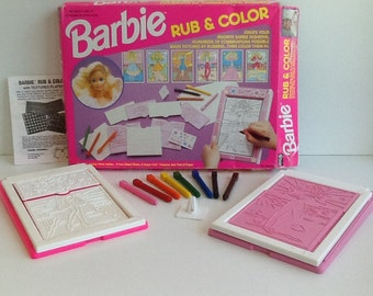 1992 BARBIE Rub & Color Fashion Plates Complete Set with Extras