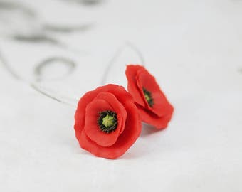 Small red poppy flower dangle earrings - polymerclay floral jewelry