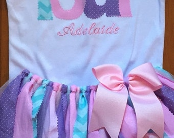 Pink, Purple, and Aqua Birthday Tutu Outfit With Script Name Embroidery