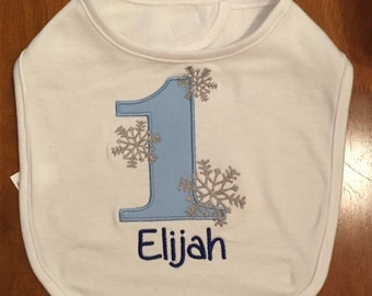 Light Blue, Royal Blue, and Grey Winter Onederland Bib With Name Embroidery