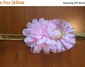 Pink and Gold Shabby Flower Headband
