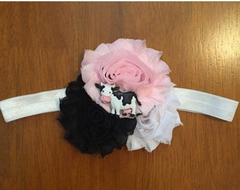 Pink, Black, and White Cow Shabby Flower Headband