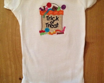 Halloween Trick or Treat Embroidered Shirt or Baby Bodysuit