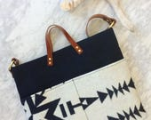 RESERVED for Jenna: Black and White Pendelton Pocket Day Bag (Made to Order)