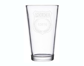 Police Badge Custom Etched Engraved Glass Wine Pilsner Hand Made To Order His and Hers Gift Husband Wife Family Friends