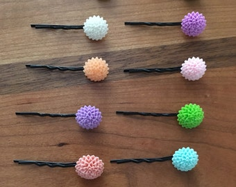 Colorful Flower Bobby Pins