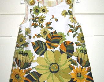 Girls Size 2 Retro Floral Fabric Pinny, Autumn Tones, One Of A Kind Girls Dress, Toddlers Dress, Upcycled Pinny,Handmade Dress,Vintage Style
