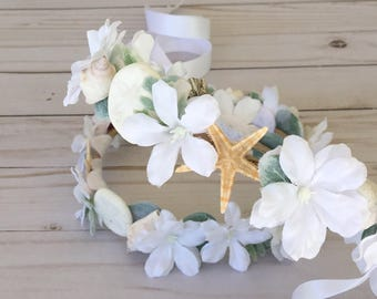 Custom Beach Wedding Flower Girl Flower Crown, Mermaid Flower Crown, Mermaid Photo Shoot,  Destination Wedding Flower Girl, Boho Flower Girl