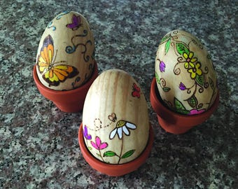 Wood Burned, Hand Painted Wooden Eggs