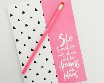 Notebook and Pencil - DREAMS INTO PLANS