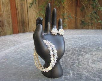 Vintage AB crystal beads bracelet and cluster clip earrings demi parure set - estate jewelry