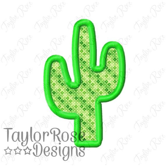 Cactus applique machine embroidery design instant