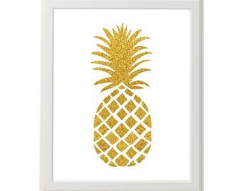 Gold Pineapple Art, Pineapple Wall Art, Gold Glitter Pineapple Art, Framed Pineapple Art, 8x10 Pineapple Art, Trpoical Fruit Art, Gifts