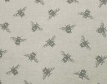 PVC coated cotton oilcloth fabric wipe clean tablecloth bees linen per metre