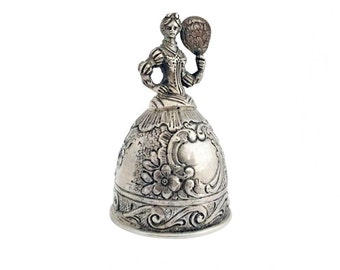 """Silver Dinner Bell Table Bell """"Marquise"""" / Antique German Hanau Lady Bell"""