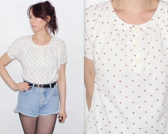 Vintage 1990's White Brown POLKA DOT PATTERNED Short Sleeves T-Shirt Top Size Small