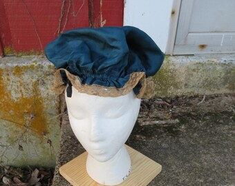 SALE Vintage 1910s 1920s blue silk cap hat bonnet boudoir sleeping night cream floral lace drawstring tie