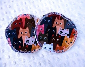 Reusable Breast Pads - Cats Jersey fabric - regular size - washable and reusable