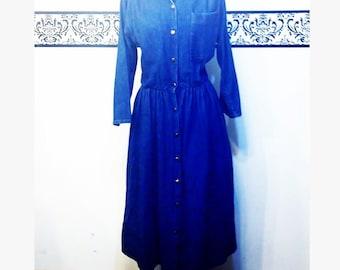 1980's Denim Rockabilly Rosie Dress by Ransom of California, Size 10 Medium Large, Vintage 80's Denim Dress, 80's Pin Up Jean Dress