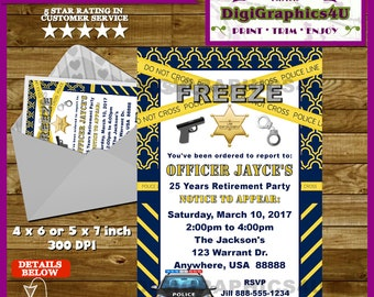 Police, Law Enforcement Party, Cops and Robbers Retirement Party Invitation - Personalized Printable  File