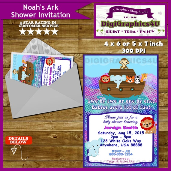 noahs ark gender neutral baby shower invitation printable