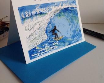 Surfing Art Card,Surfer Riding A Wave Card, Shredding the Wave card, Surfer Greeting Card,Surfing Card,Beach Card