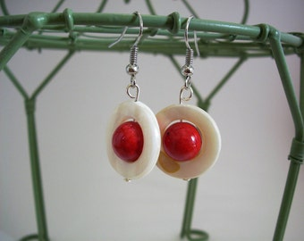 Red speckled orbit earrings