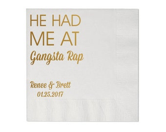 100 Personalized Napkins Personalized Napkins He Hed Me at Gangsta Rap Wedding Napkins Custom Monogram Gangster Rap Luncheon also Available!