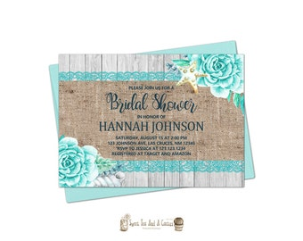 Beach Bridal Shower Invitation Rustic Burlap Lace Wedding Invites Blue Turquoise Ocean Digital File Or