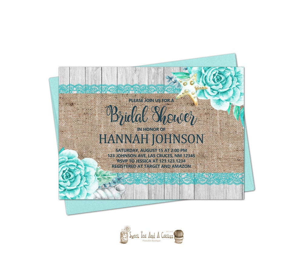 Beach Bridal Shower Invitation Rustic Burlap Lace Wedding Shower