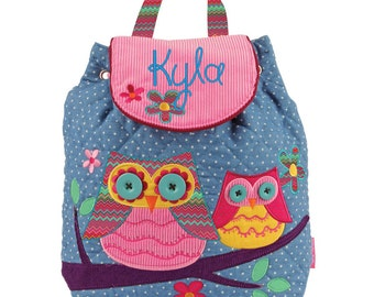 Personalised/OWL/ Stephen Joseph Backpack/ Children and Toddler Backpack/Rucksack/Holiday Bag/Nappy Bag/Princess +FREE KEYRING