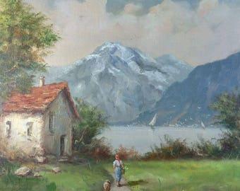 Old Vintage Impressionist Landscape Oil Painting Italian Canvas by Mario Molmar