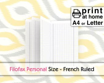 "Printable French Ruled Inserts - Filofax Personal size 9.5cmx17.1cm 3.74""x6.73"", LM MM-DIY immediate download-traveller notebook handwriting"