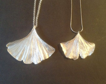 Gingko Biloba Sterling Silver Necklace Pendants, Gingko pendant, biloba pendant, silver neckalce, leaf pendant,nature jewelry,handmade