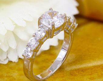 14k White Gold Round Cut Diamond Engagement Ring Halo Deco Antique Style, Bridal Style, Wedding, Prong Set, band  1.60ctw H-VS2 EGL USA