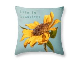 Sunflower Throw Pillow, Yellow Pillow, Photography Pillow Print, Playroom, Couch Decor, Nature, Summer,Spring Sky Aqua Blue -NO. 0988-5T