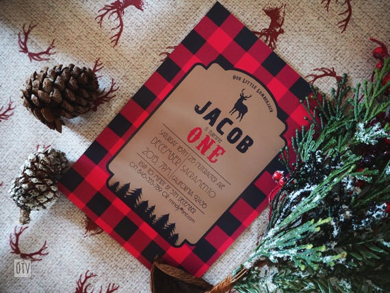 Lumberjack Buffalo Check Personalised Invitation - PRINTABLE Pdf Digital File