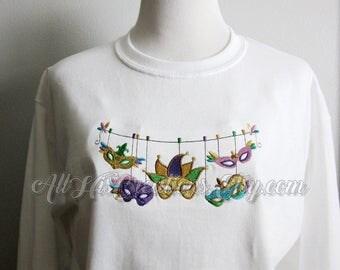 Mardi Gras Shirts, Embroidered Mardi Gras T-Shirt, Embroidered Mardi Gras Sweatshirt, Mardi Gras Clothes, Custom Embroidery, Mardi Gras