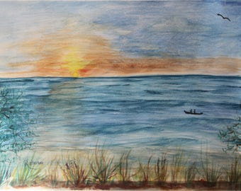 Sunset in west coast - watercolor painting - original art - wall decor - 9x12 in