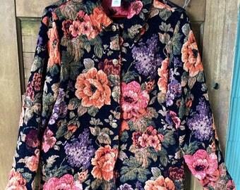 Vintage 90's Floral Tapestry Jacket/ Blazer/ Oversized Jacket by Susan Graver size large